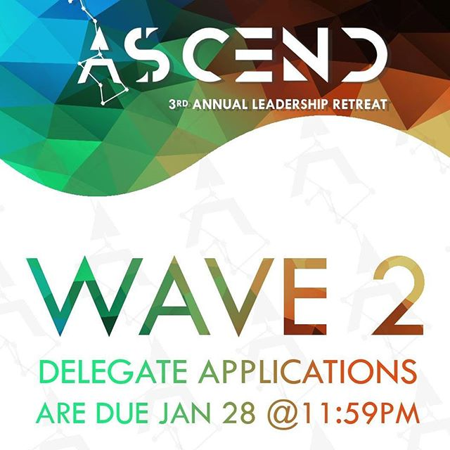 Wave 2 delegate applications are due in THREE DAYS! Don't miss out on the opportunity to network with student visionaries and learn how to make a difference as a leader in the community, and in yourself.  Link in bio. Come #Ascendwithus.