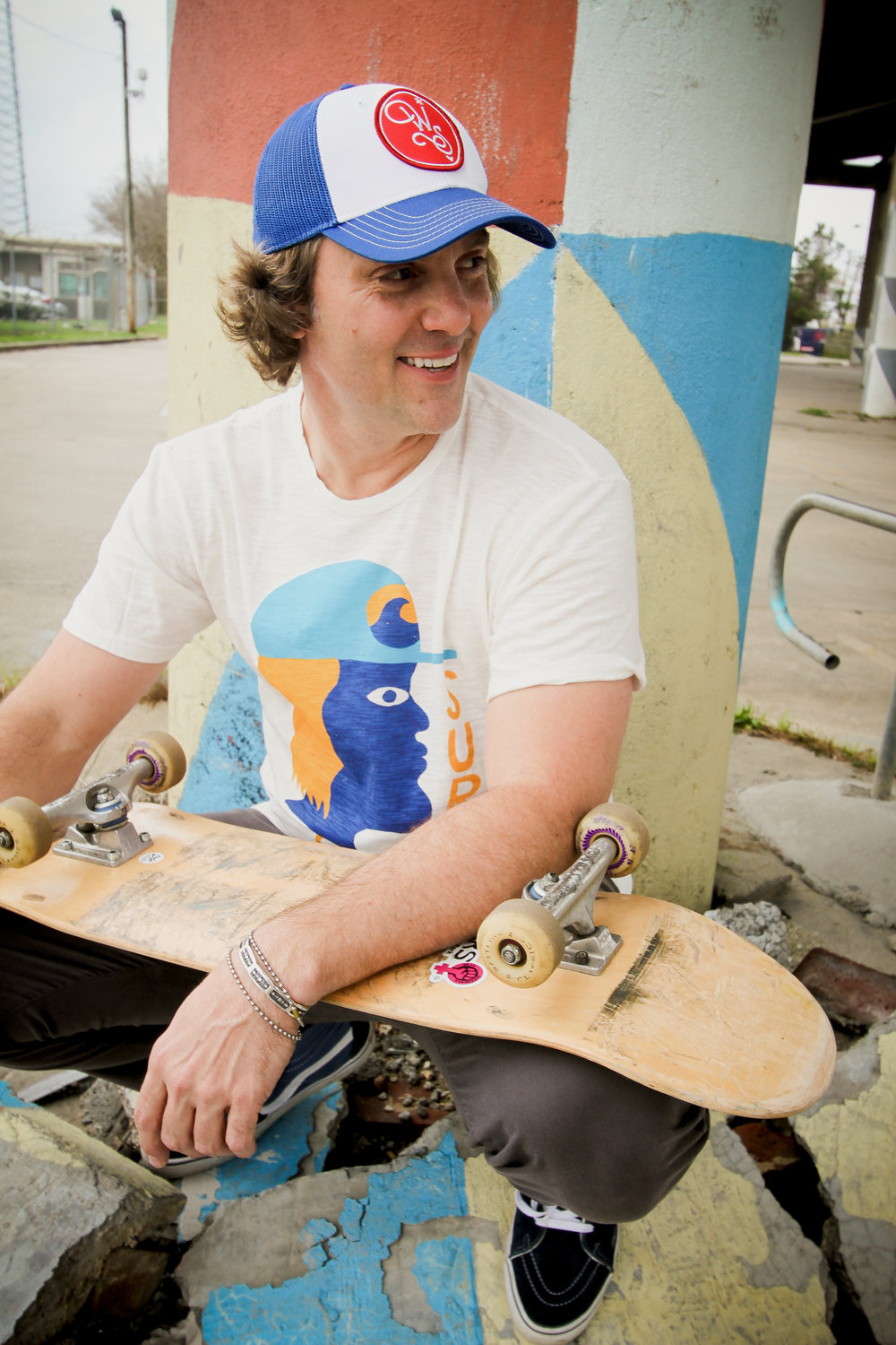 """Wonder South co-founder Jeff Beck skating in Pontcha's """"Surf Head"""" tee. Photo by Jeffrey Roedel."""