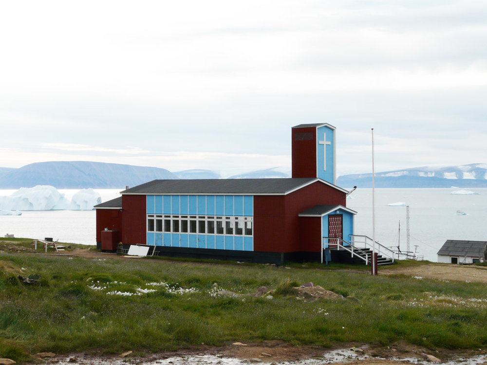 Qaanaaq Church, looking toward the fjord