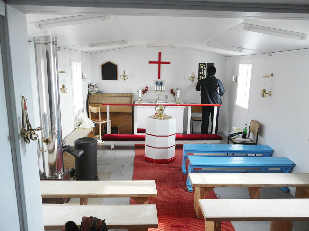 inside Nutaarmiut's church, the smallest in Greenland