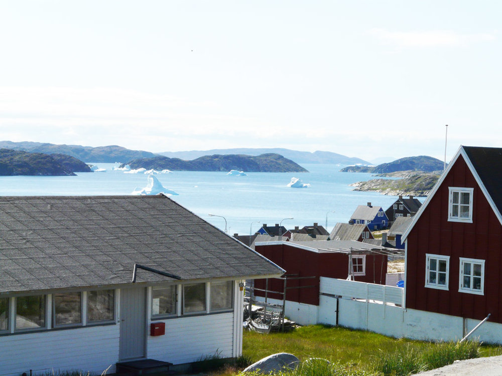 a view from the church toward Disko Bay