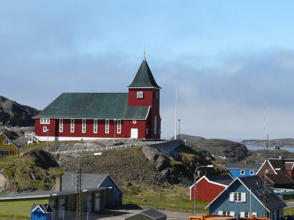 Sisimiut Church rests on a hill overlooking the town