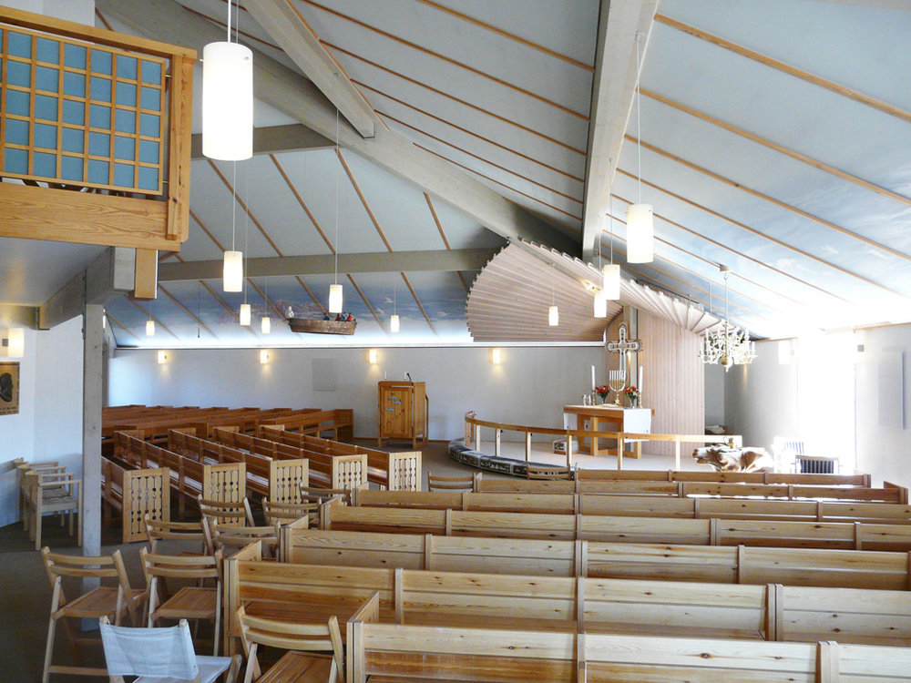 New Church's unique interior.  Notice the Umiaq votive ship hanging from the ceiling