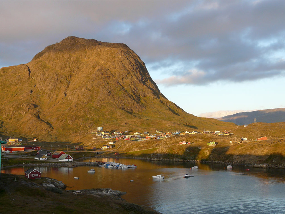 Narsaq's idyllic green mountains and pastures