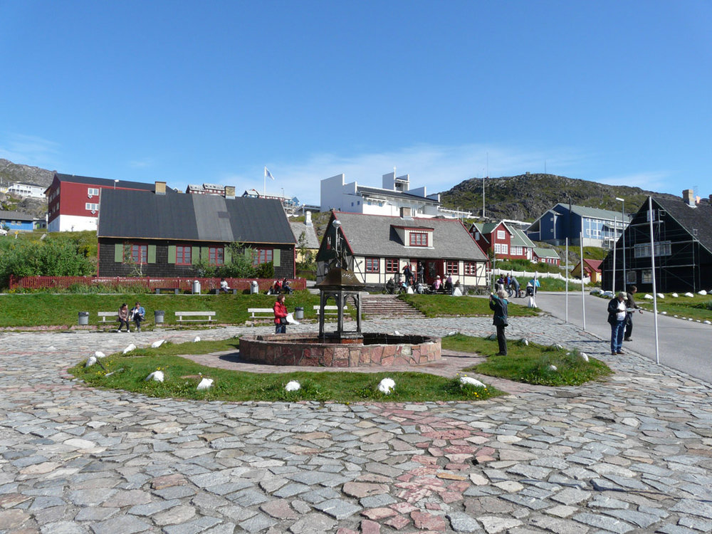 Qaqortoq town square, the only fountain in Greenland