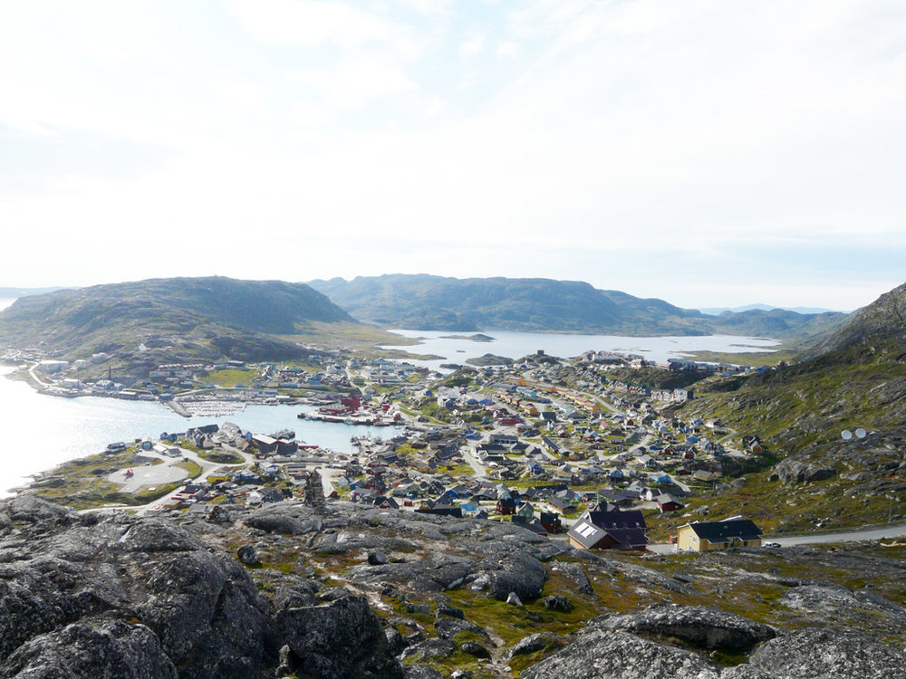 looking down on Qaqortoq from the hills above town