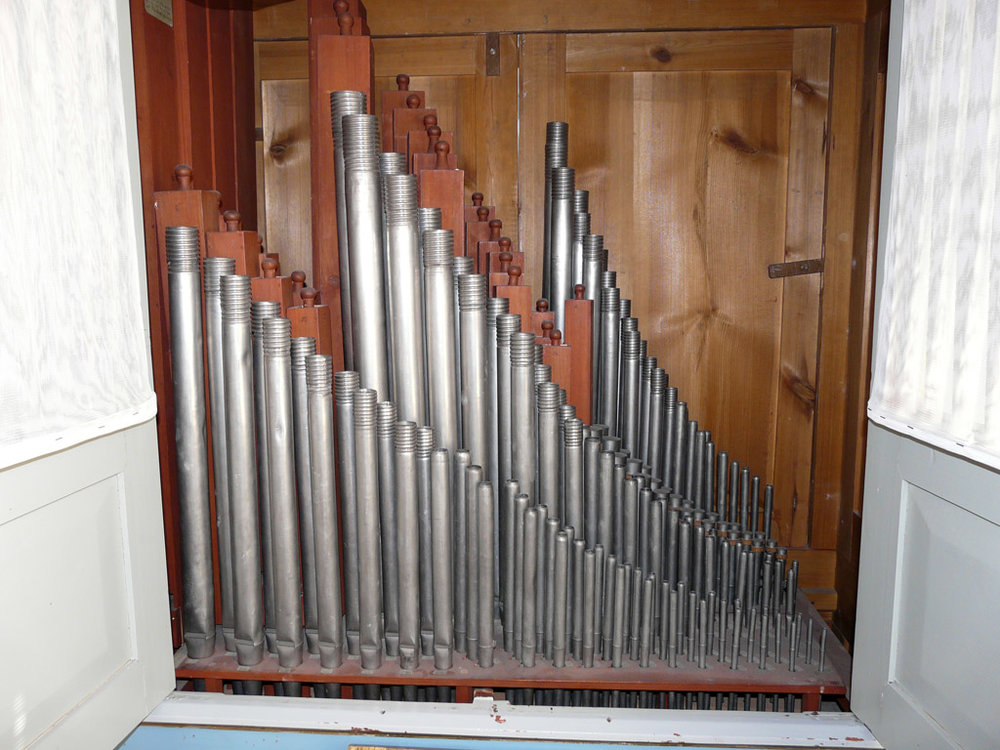 the Gregersen organ's unusual spiral pipe sleeves