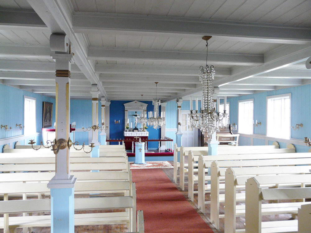 Inside a church in the nearby abandoned village of Alluitsoq