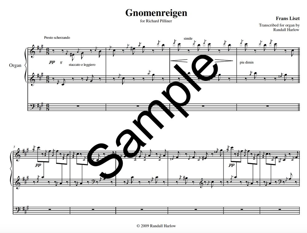 Liszt Gnomenreigen transcribed for organ