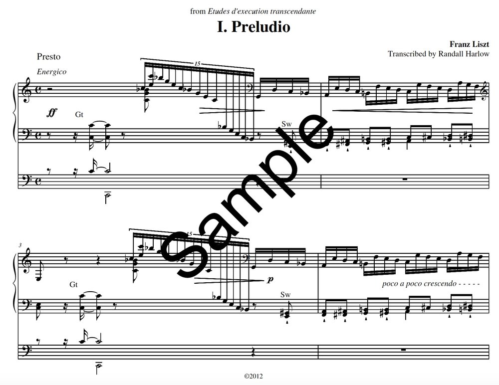 Liszt Transcendental Etudes Preludio transcribed for organ