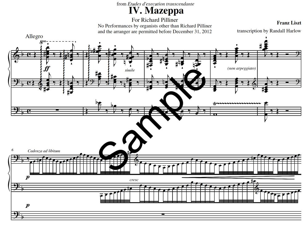 Liszt Transcendental Etudes Mazeppa transcribed for organ