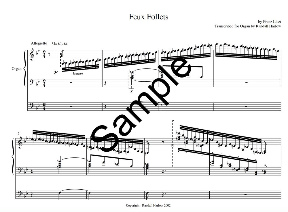 Liszt Transcendental Etudes Feux Follets transcribed for organ