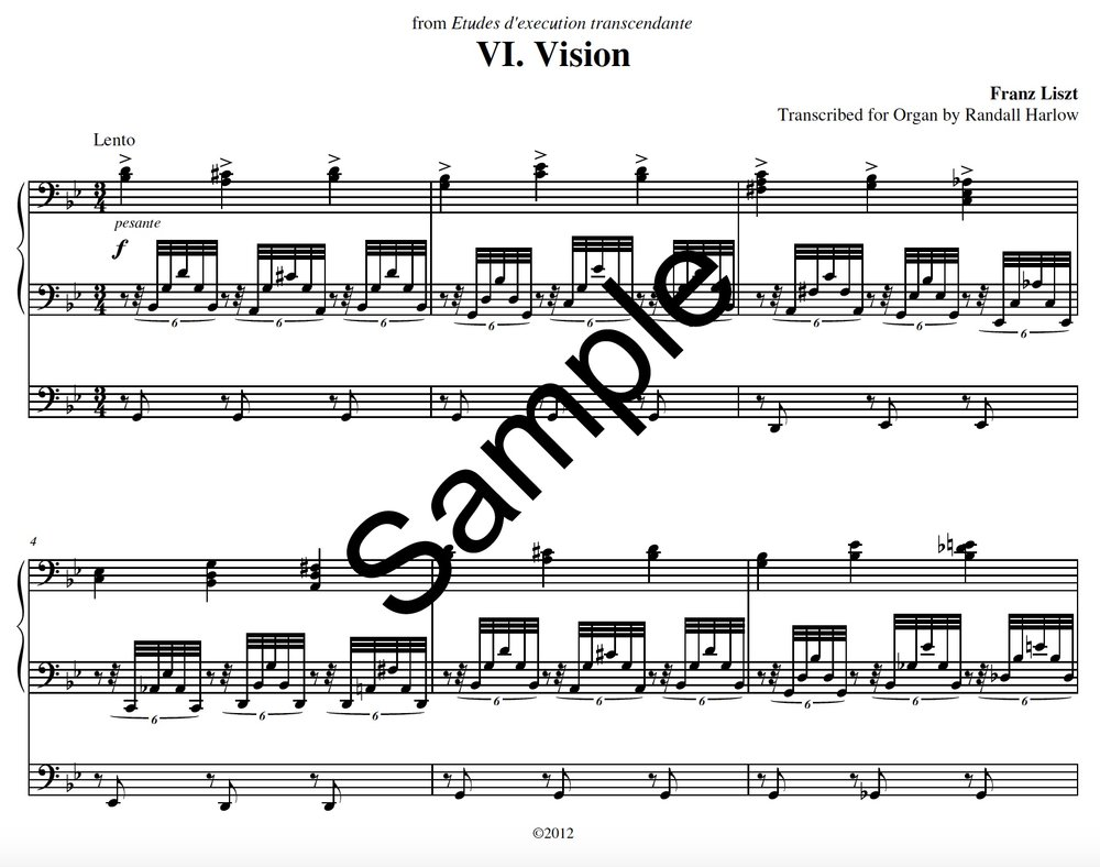 Liszt Transcendental Etudes Vision transcribed for organ