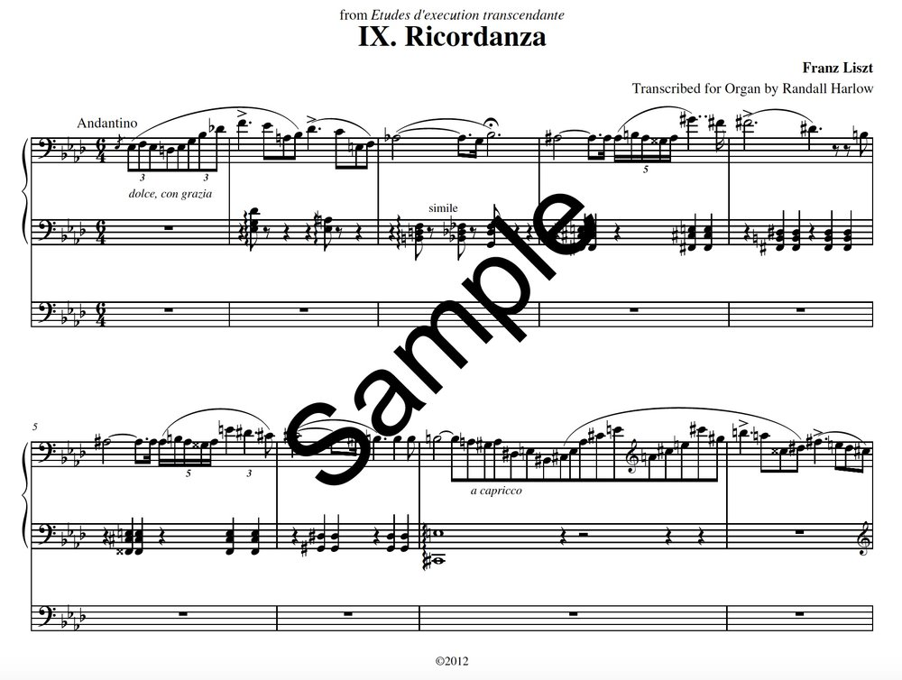 Liszt Transcendental Etudes Ricordanza transcribed for organ