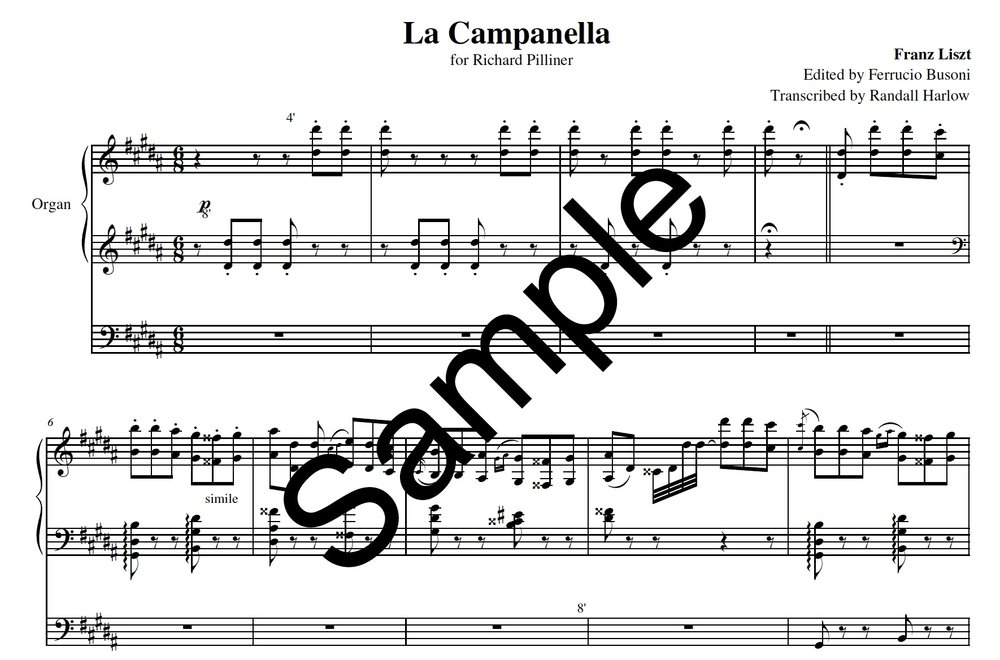 Liszt la campanella transcribed for organ