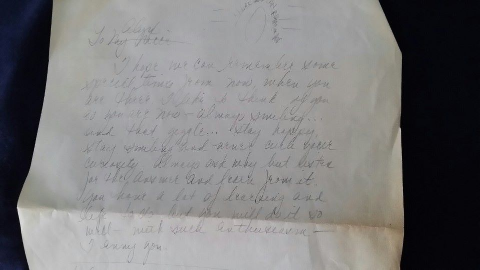 I letter found in her house. I was three when she wrote it.