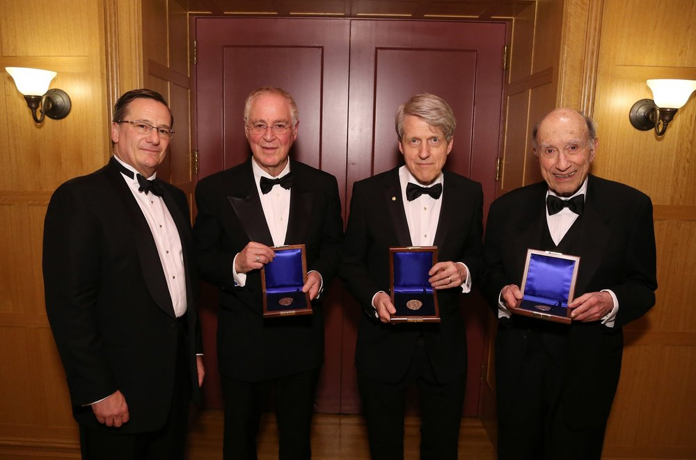 National Institute President Fred Larsen with Gold Medal Honorees Ron Chernow, Robert J. Shiller and Michael I. Sovern