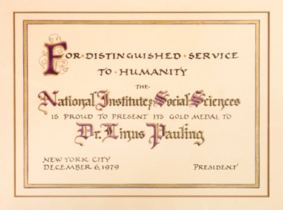 Certificate presented to Linus Pauling on the occasion of his receiving the Gold Medal in 1979.