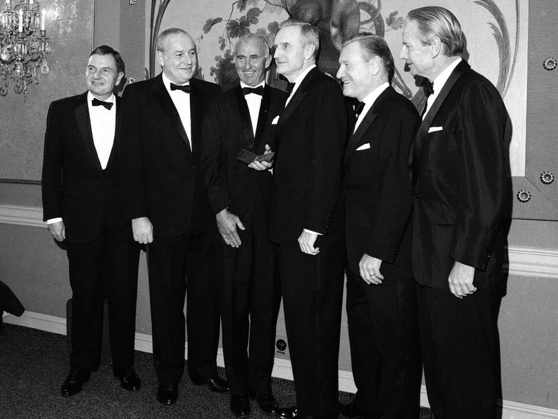 New York City -- November 28, 1967. The five Rockefeller Brothers receive gold medals from the National Institute of Social Sciences. From left are David Rockefeller, president of the Chase Manhattan Bank; Winthrop Rockefeller, governor of Arkansas; Frank Pace, president of the National Institute; John D. Rockefeller 3rd, chairman of the Rockefeller Foundation; Nelson Rockefeller, governor of New York; and Laurence Rockefeller, a conservation adviser to President Johnson.