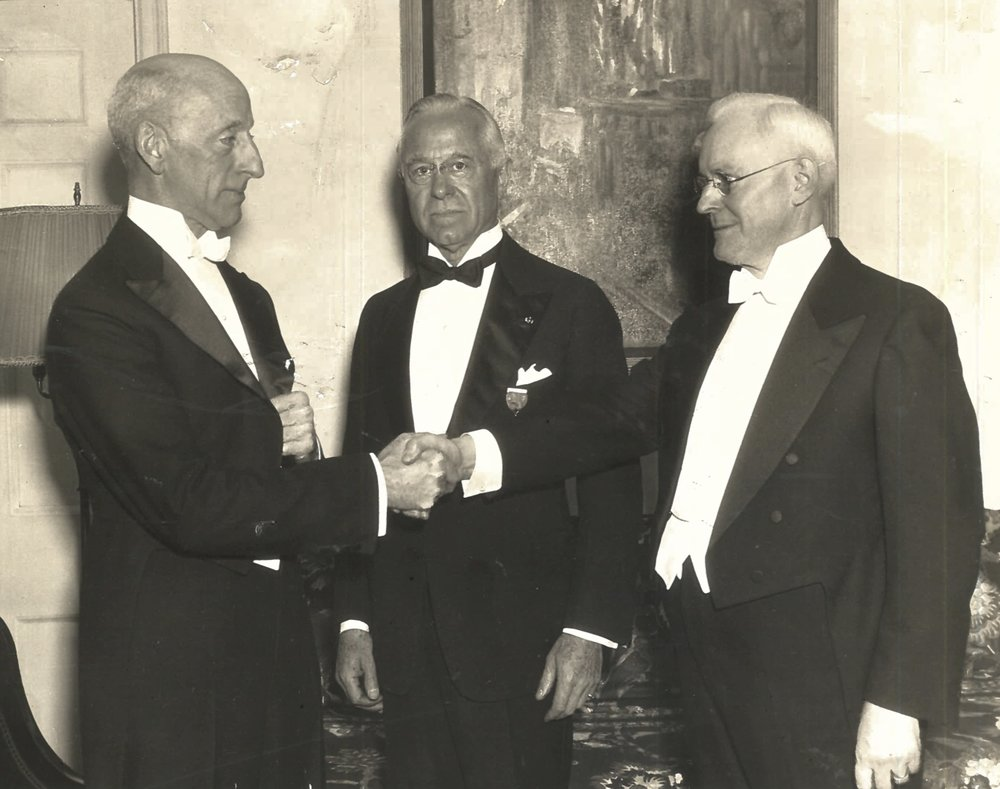 C. Stuart Gager, past president, H.H. Clarke, treasurer, and Henry Fletcher, president, in 1935.