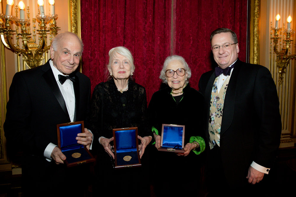 Daniel Kahneman, Geraldine Kunstadter, Betsy Rogers, and Fred Larsen at the 2018 Gold Medal Dinner