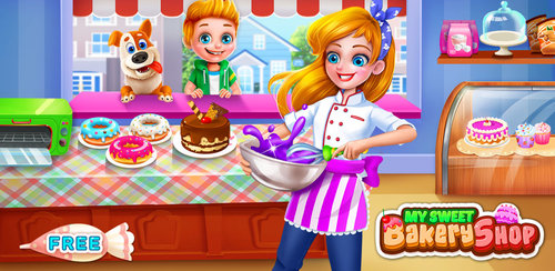My Sweet Bakery Shop  Do you ever dream to have a sweet bakery shop?Run your own sweet bakery shop! Use professional tools to bake cupcakes, fry donuts, make milkshakes and decorate them as you like and serve to your customers!