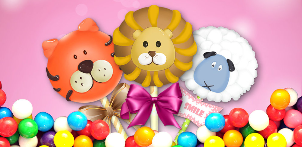 Cake Pops! - Free Maker Games  Make and bake cakes. Put on a stick & decorate with candy, fruits & chocolate!