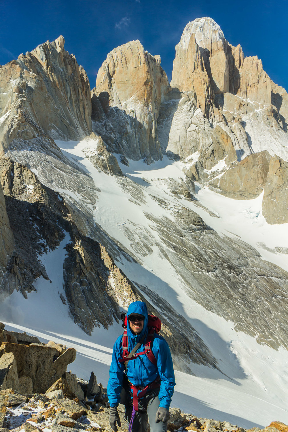Me beneath the Fitz Roy Massif in Argentinian Patagonia - the peaks that made me want to take up rock climbing