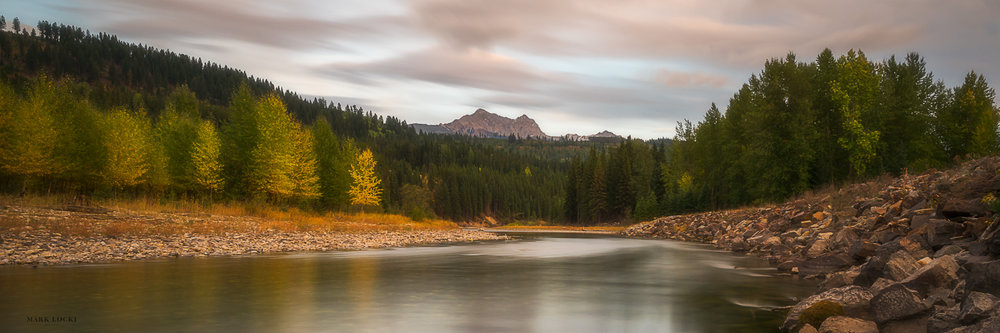 Elkford Evening - Moving further down the river, the first community you come to is Elkford.  At the beginning of autumn I went out to capture my final image in the series, and found this spot just outside of Elkford to watch the sunset.  Mount Lyne is present in the background.  This panorama is a single shot that I cropped, once again with a long exposure