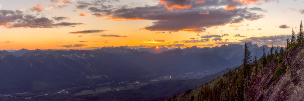 Morrissey Ridge Sunset - The Elk River stretches out below the Lizard Range as I stood atop Morrissey Ridge at Sunset.  Fernie and Cokato complete the surroundings of the Elk River.  7 images stitched together form this panorama.