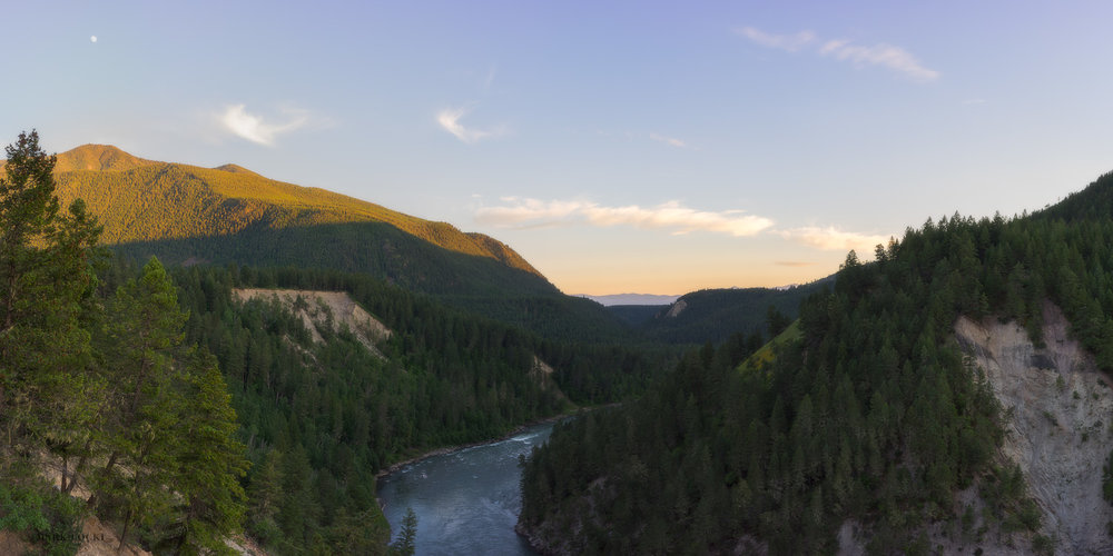 Elk River Sunset - South of Elko, the Elk River runs into a canyon that flows down to the confluence with the Wigwam River.  From above the canyon I hiked partway down to capture this image at sunset.