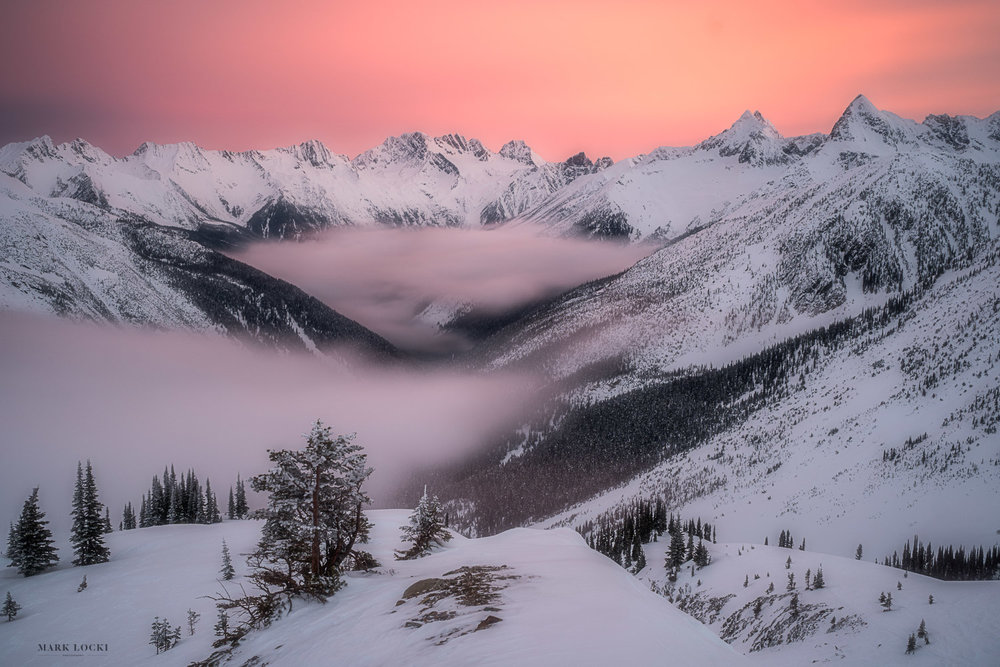 Asulkan Awakening - Looking down the Asulkan Valley in Rogers Pass at Sunrise. Limit of 15 prints available