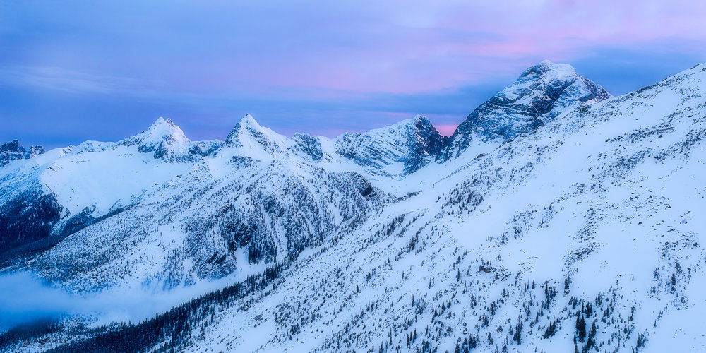 Rogers Pass Sunrise - one of the compositions I played around with.  This was how the sky appeared with a 1 second exposure.  The pink tones gradually made their way across the sky