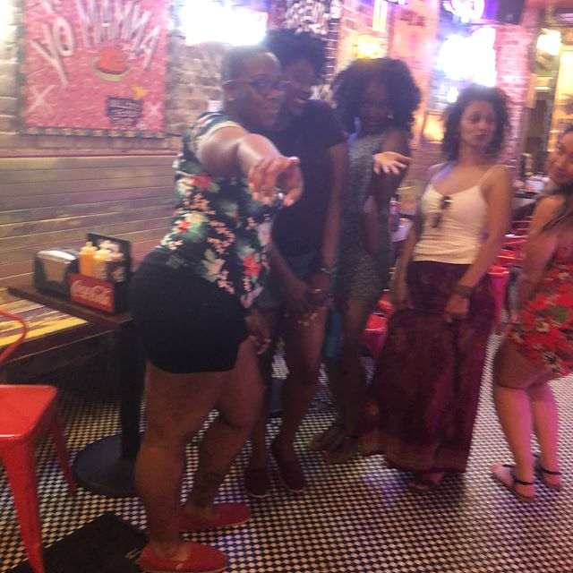 """I call this photo collage """"Street Harassment"""". I have gained relationship weight and it went straight to my ass. The men on Bourbon St. let me know with no hesitation. 🤷🏾♀️"""