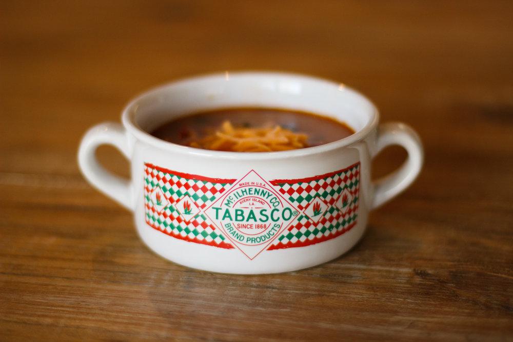 Warm bowl of chicken tortilla soup
