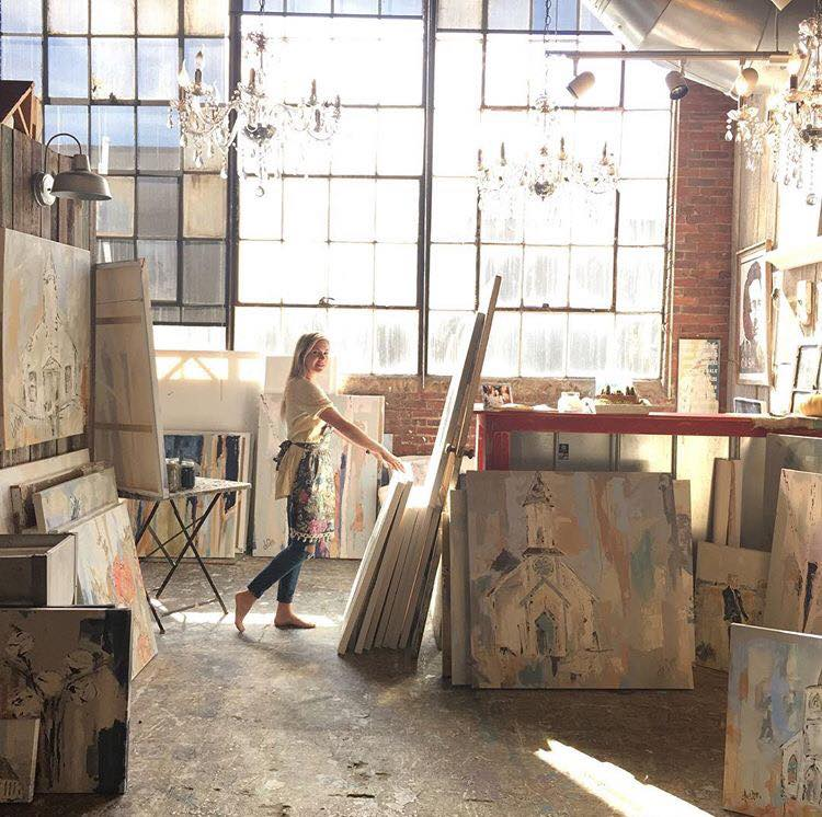 Deann at work in her studio at The Factory at Franklin