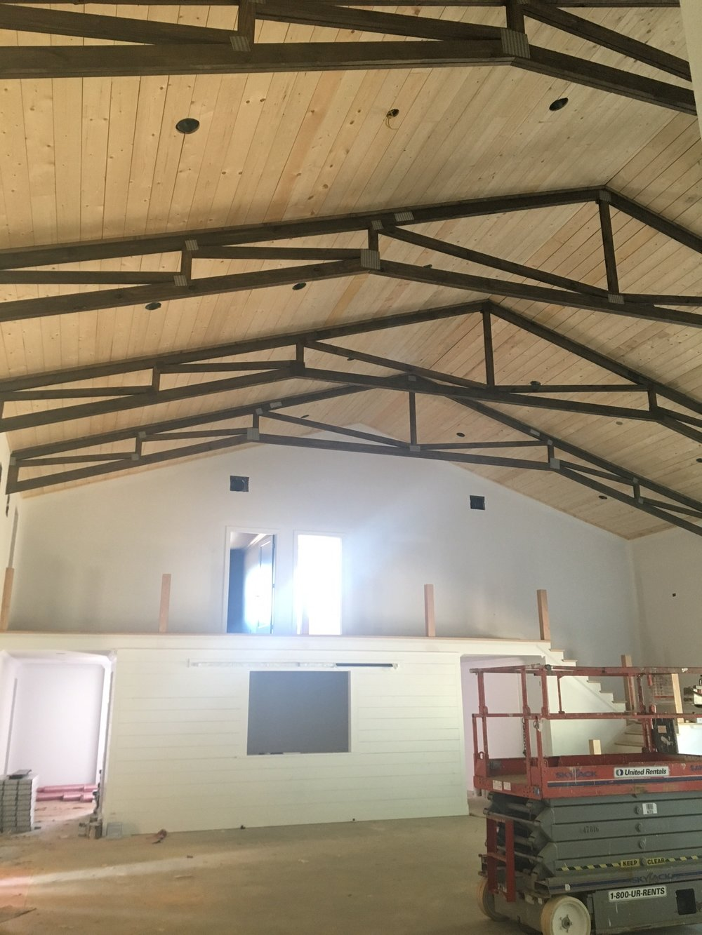 """View looking from the main hall to our """"Tack Room"""" and the 2nd level"""