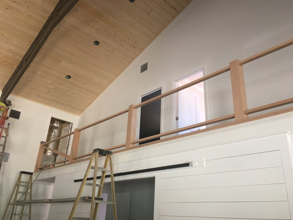 Shiplap installed around the Tack Room walls and staircase being installed today