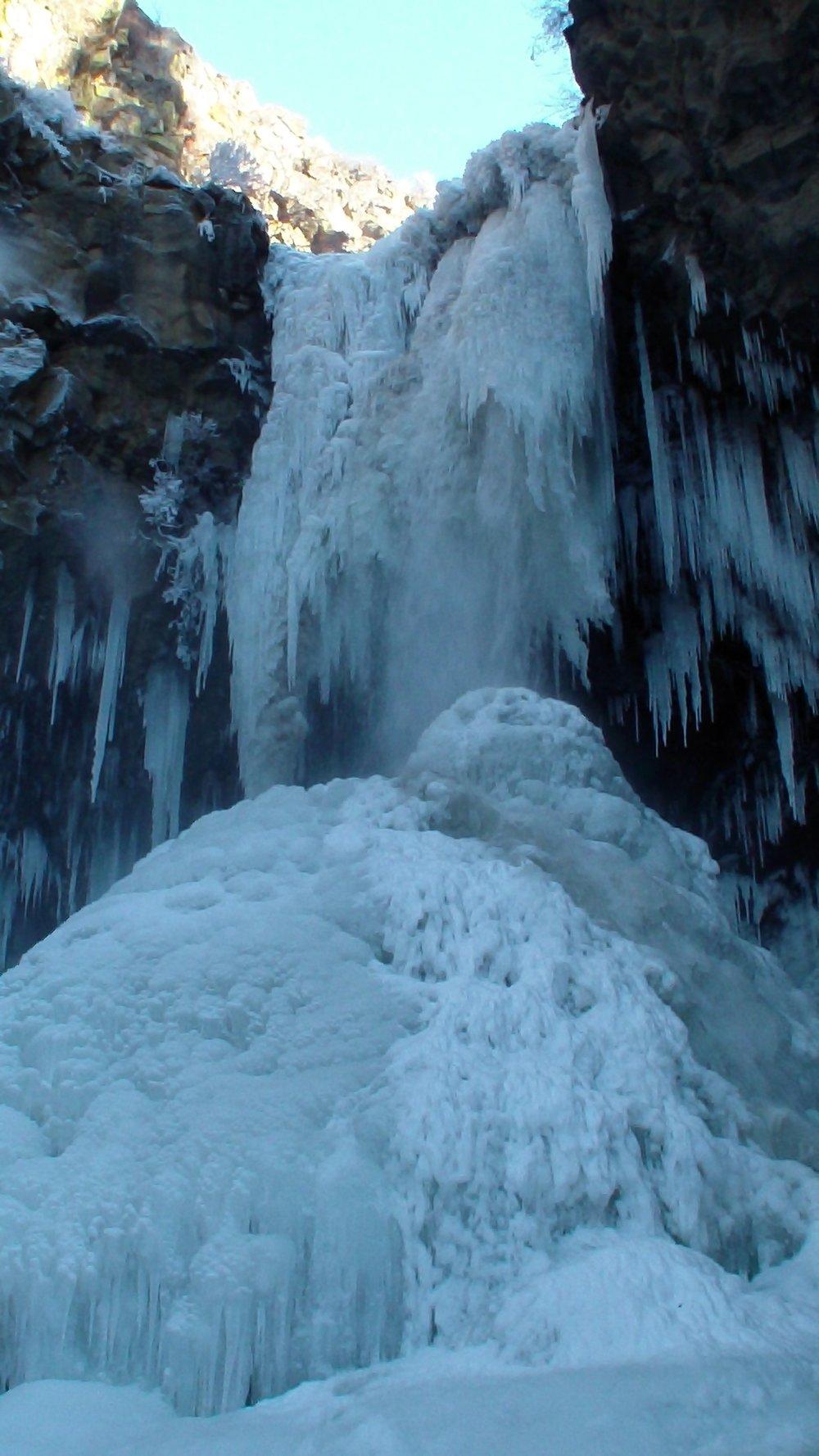 Smith Creek Falls in winter.