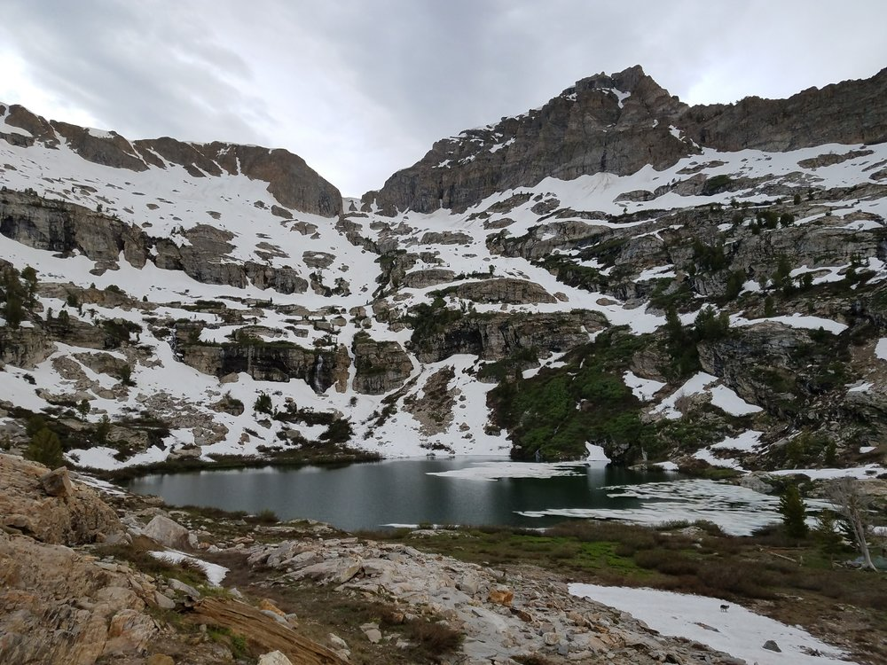 Griswold Lake Still a little snowy, but plenty of room to set up camp.