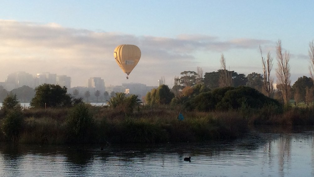 Balloon over albert park lake - part of the sporting legends tour