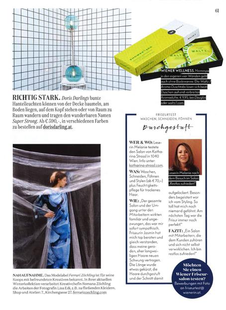 """Wienerin Magazin 2016: """"Richtig stark. Doris Darlings bunte Hantelleuchten können von der Decke baumeln, auf dem Kopf stehen oder von Raum zu Raum wandern..."""""""