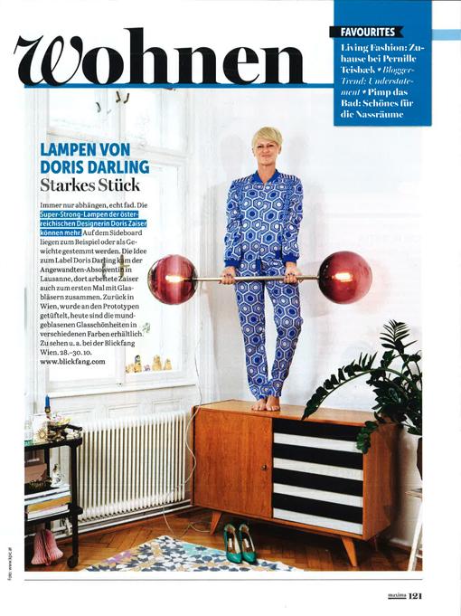 """Maxima Magazin 2016: """"...die mundgeblasenen Glasschönheiten sind in verschiedenen Farben erhältlich."""""""