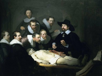 Dr Tulip's Anatomy Lesson on the body of the criminal by Rembrandt (1632). Image courtesy of Wikimedia Commons.