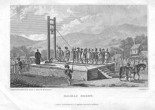 Illustration of the Gibbet, Gibbet Lane, Halifax, West Yorkshire. From a sketch by Hollar. Undated. Image courtesy of  Calderdale Libraries' Weaver to Web Archive. Document ID: 101675