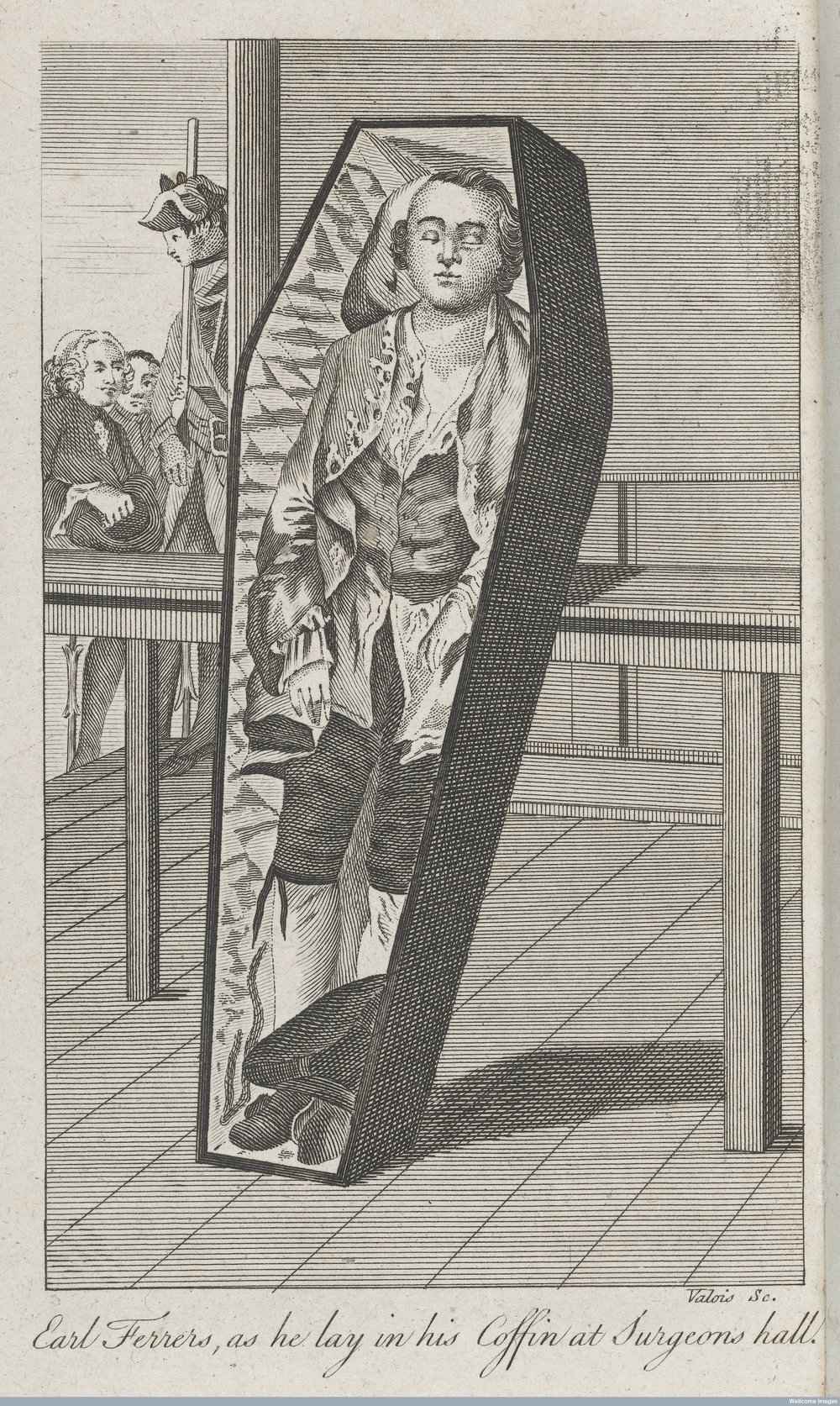 E arl Ferrers in his coffin at Surgeon's Hall - Wellcome Trust