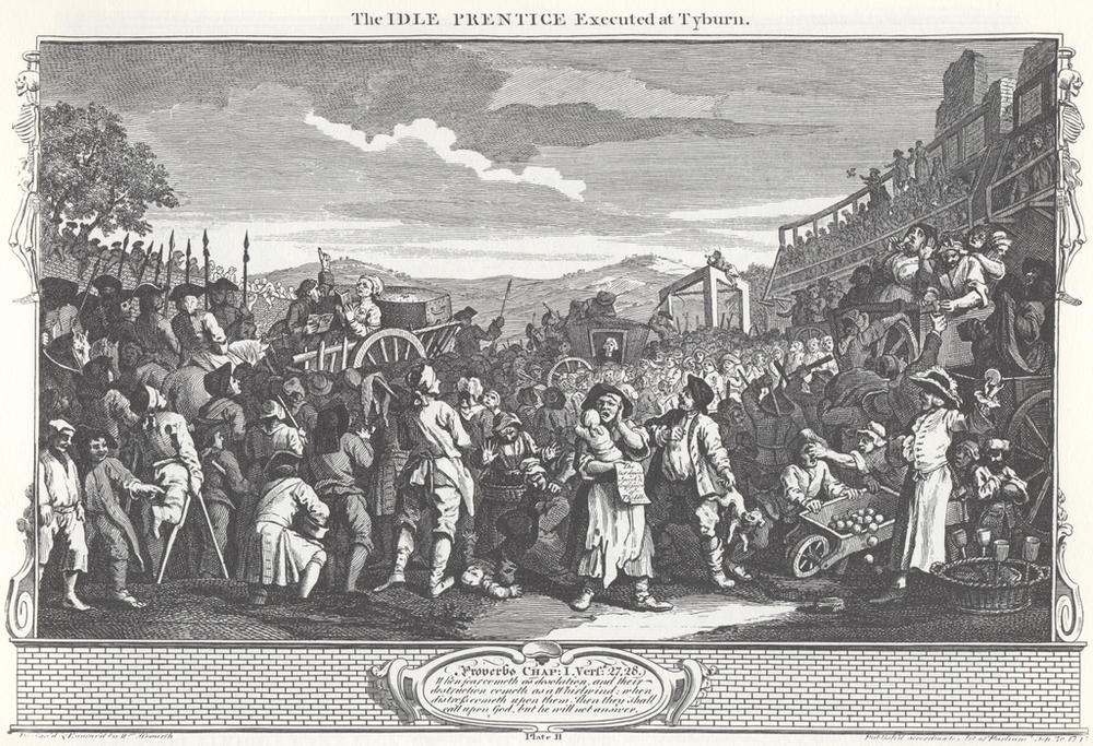 Industry and Idleness, Plate 11; The Idle 'Prentice Executed at Tyburn. Image Courtesy of Wikimedia Commons