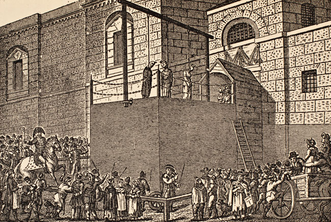 Outside the debtor's door of Newgate Prison in London, opposite the Old Bailey, the hangman plies his trade with another client.