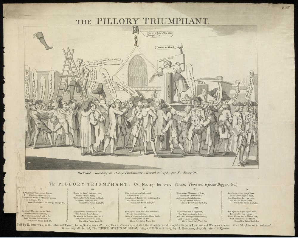 John Williams, a bookseller stands in the pillory in the Palace Yard, Westminster, surrounded by a cheering crowd. Engraving with ten verses in five columns below, 1765. Williams is held up as a martyr to the cause of liberty. He was punished on Wednesday, 23 Jan 1765 for reprinting John Wilkes publication, 'The North Briton'. Williams holds a laurel branch, symbol of liberty. The two suspended jack-boots, scotch bonnet and axe far left refer to Lord Bute and opposition to Wilkes and his followers. Wellcome Images