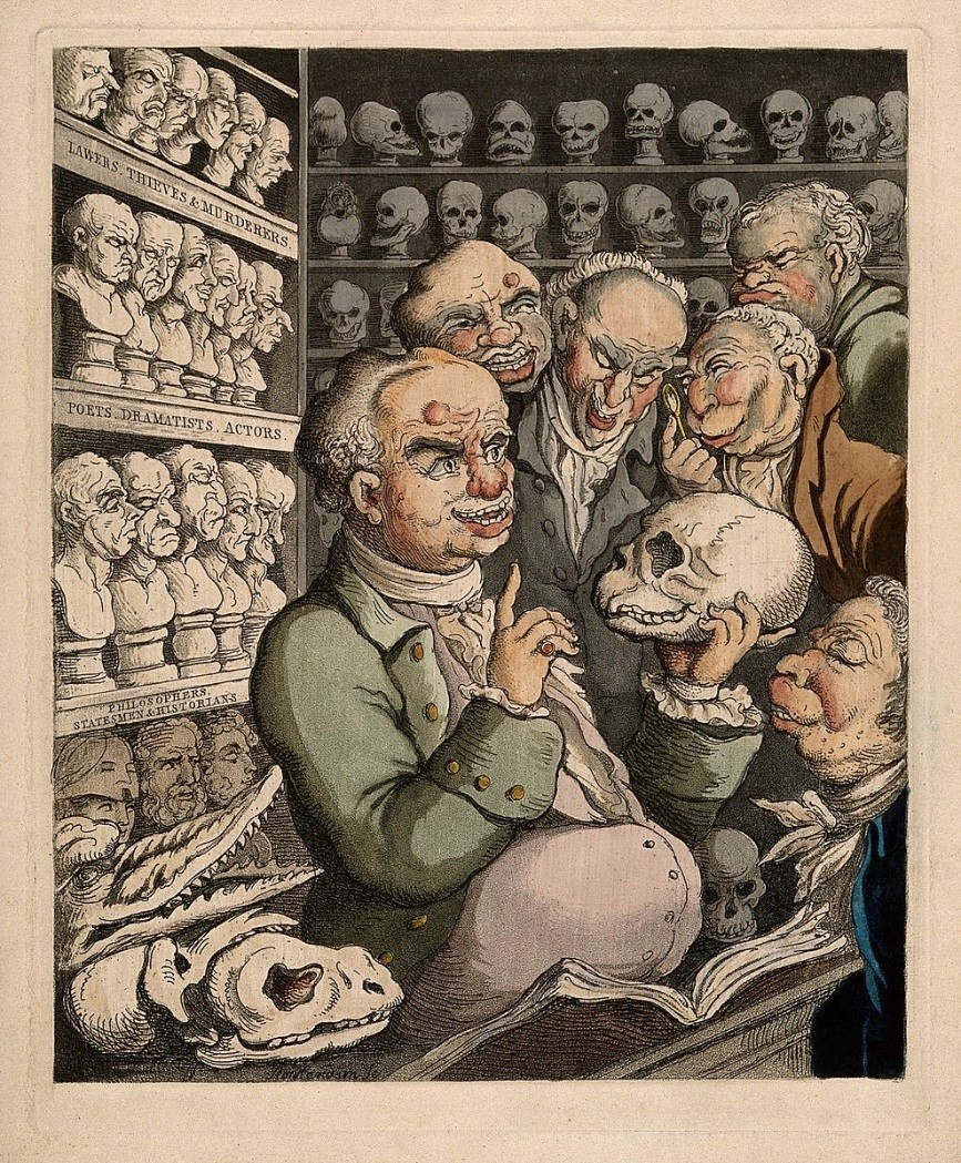 Franz Joseph Gall leading a discussion on phrenology with five colleagues, among his extensive collection of skulls and model heads. Coloured etching by T. Rowlandson, 1808.  Wellcome Images  V0011105